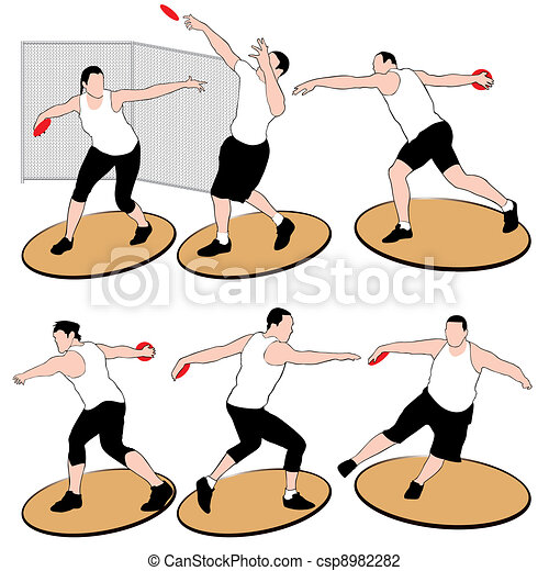 Set of discus throwing athletes iso - csp8982282