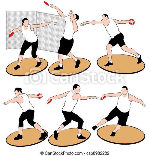 Set of discus throwing athletes iso - csp8982282
