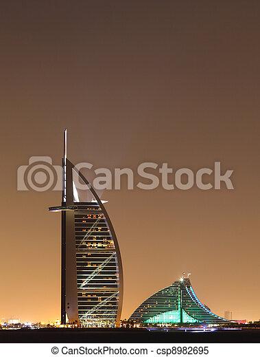 Dubai landmarks at night, United Arab Emirates - csp8982695