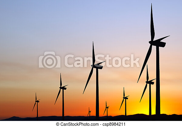 Wind power at sunset - csp8984211