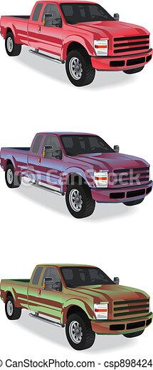 Pick-up trucks isolated on white background - csp8984246