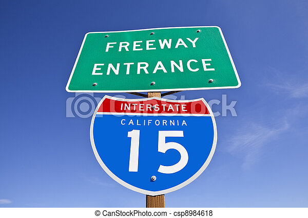California Interstate 15 Freeway Entrance Sign - csp8984618
