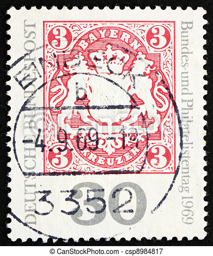 Postage stamp Germany 1969 Reproduction of old Bavarian stamp - csp8984817