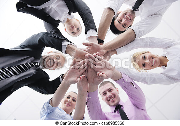 business people group joining hands - csp8985360