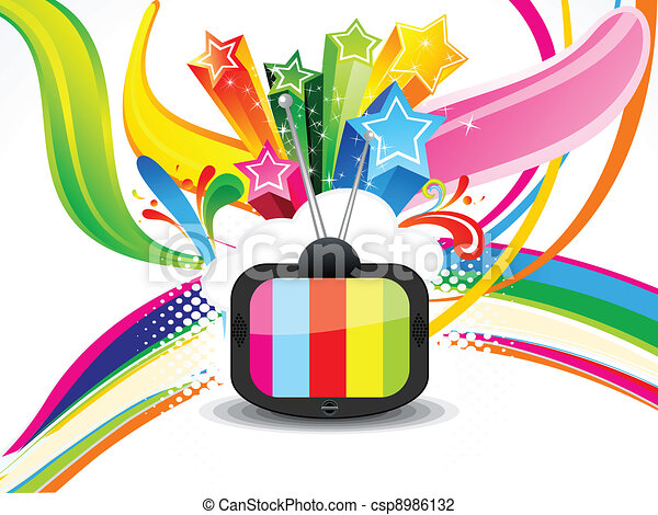 abstract colorful television - csp8986132