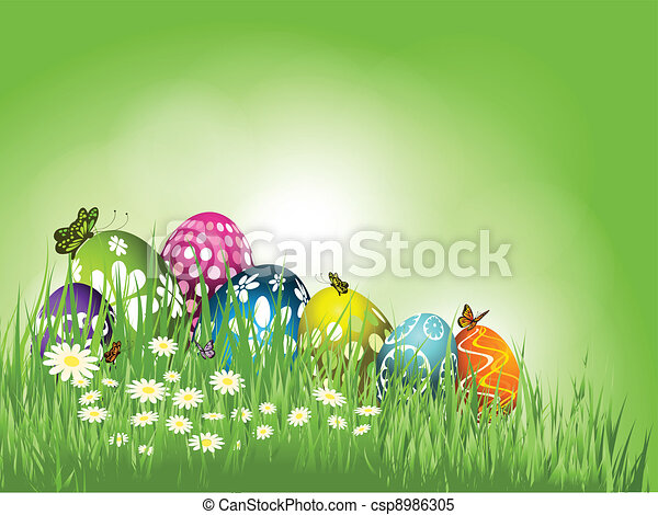 Easter eggs in grass  - csp8986305