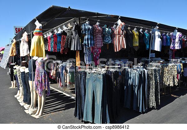 pulga, venda, mercado, roupas - csp8986412