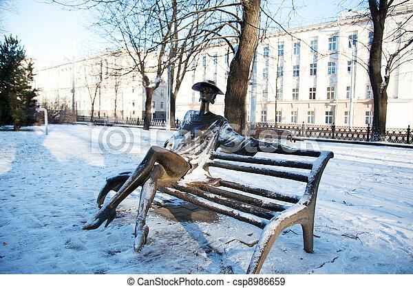 Winter park with a sculpture. Minsk, Belarus - csp8986659