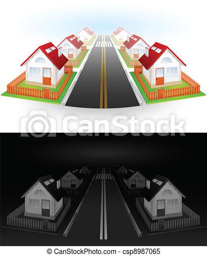 Street of houses  - csp8987065