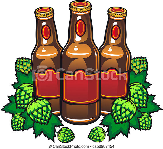 Beer bottles and hop - csp8987454