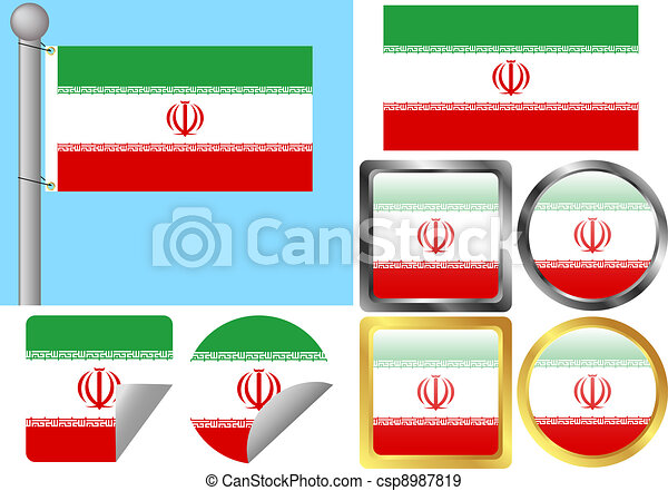 Flag Set Iran - csp8987819
