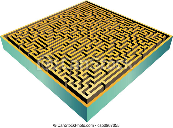 3d Maze Drawing 3d Maze Isolated Csp8987855