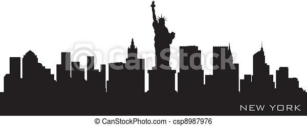 New York skyline. Detailed vector silhouette - csp8987976