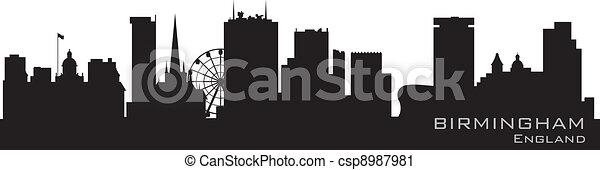 Birmingham, England skyline. Detailed vector silhouette - csp8987981