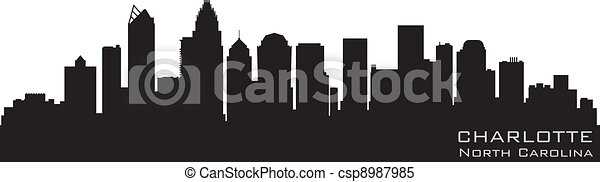 Charlotte, North Carolina skyline. Detailed vector silhouette - csp8987985