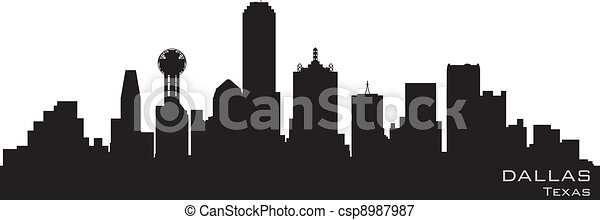 Dallas, Texas skyline. Detailed vector silhouette - csp8987987