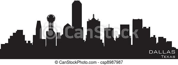 Dallas, Texas skyline. Detailed vector silhouette - csp8987987