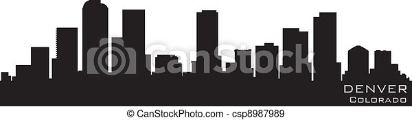 Denver, Colorado skyline. Detailed vector silhouette - csp8987989