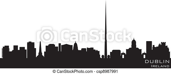 Dublin, Ireland skyline. Detailed vector silhouette - csp8987991