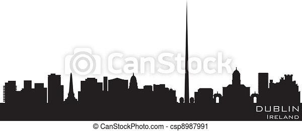Dublin, Ireland skyline. Detailed vector silhouette - csp8987991