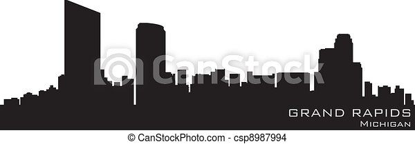 Grand Rapids, Michigan skyline. Detailed vector silhouette - csp8987994