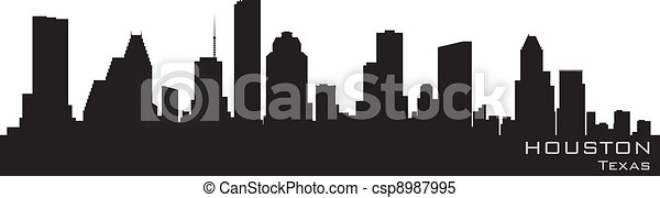 Houston, Texas skyline. Detailed vector silhouette - csp8987995
