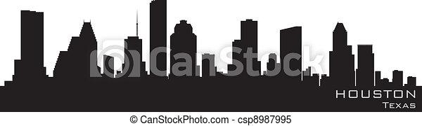 Houston, Texas skyline. Detailed vector silhouette - csp8987995
