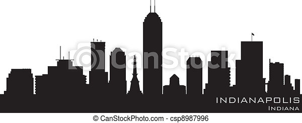 Indianapolis, Indiana skyline. Detailed vector silhouette - csp8987996