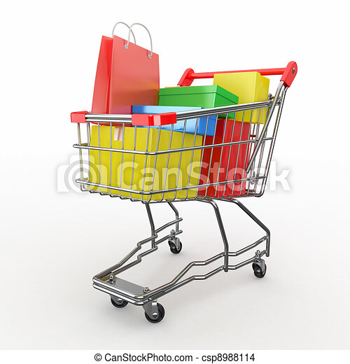 Full Grocery Cart Clipart Drawing of Gift...