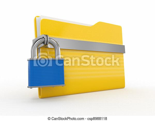 Confidential files. Padlock on folder  - csp8988118