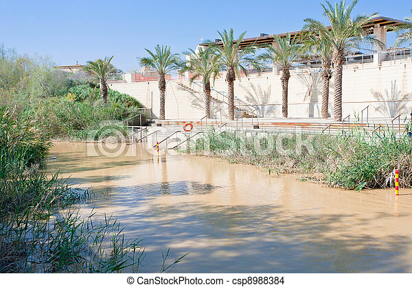 view on Jordan river in baptism site - csp8988384