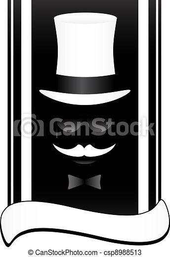 face with mustache and hat - csp8988513