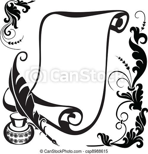 floral scroll - csp8988615