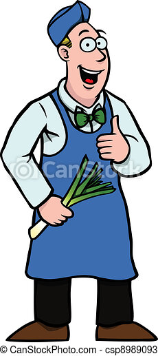 Greengrocer with leek and his thumbs up - csp8989093