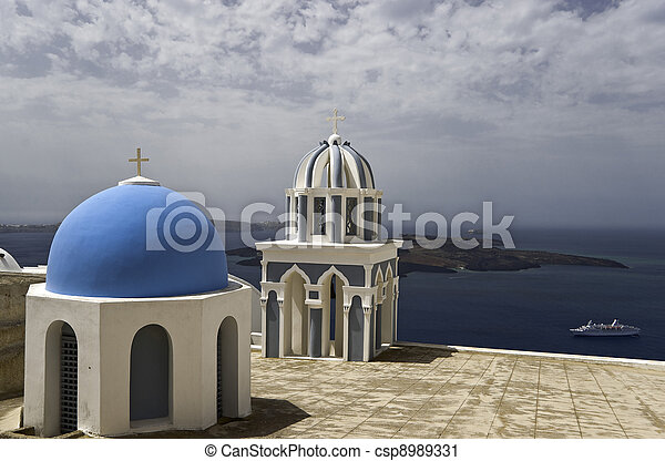 Churche cupolas above sea - csp8989331