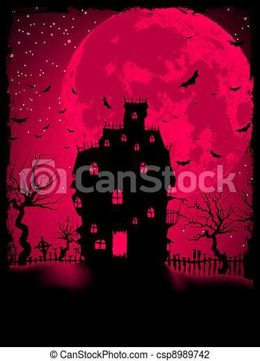 Scary halloween vector with magical abbey. EPS 8 - csp8989742