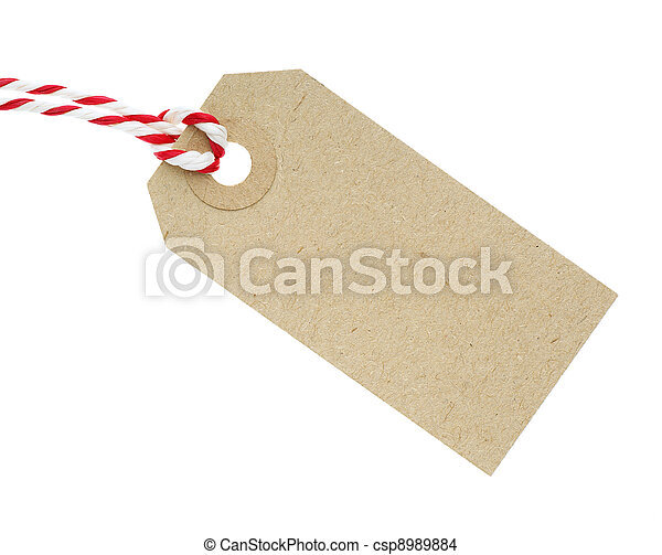 Blank Cardboard Tag Label with Red and White String - csp8989884