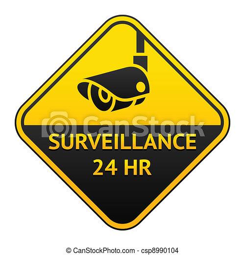 CCTV pictogram, video surveillance sticker - csp8990104