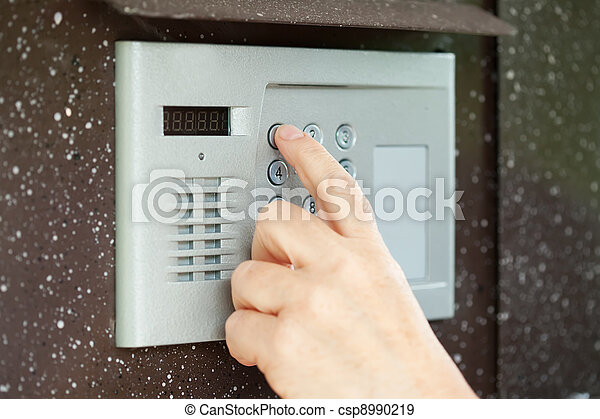 finger pushing button of  intercom - csp8990219