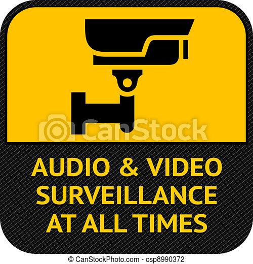 CCTV symbol, pictogram security camera - csp8990372