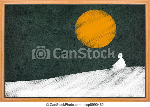 meditation under sunset, Buddhist activity - csp8990462