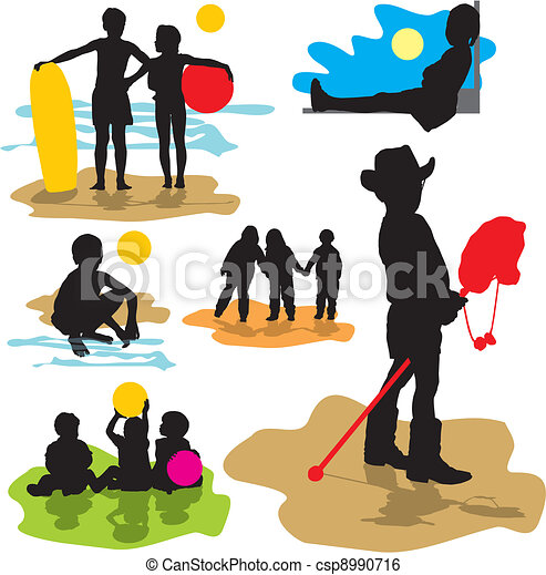 set vector silhouettes childhood - csp8990716