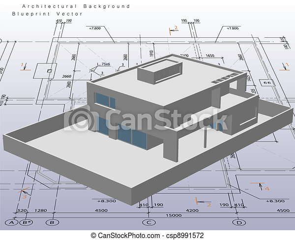 Architecture model house with blueprint. Vector - csp8991572