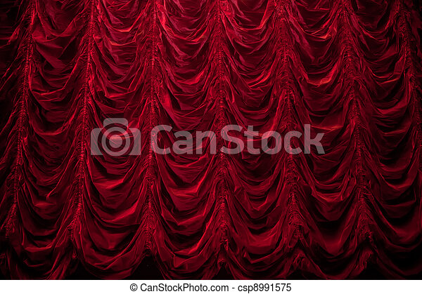 Theatrical curtain of red color - csp8991575
