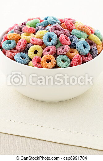 kids delicious and nutritious cereal loops or fruit cereal - csp8991704