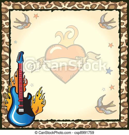 Rock Star Tattoo Invitation - csp8991759