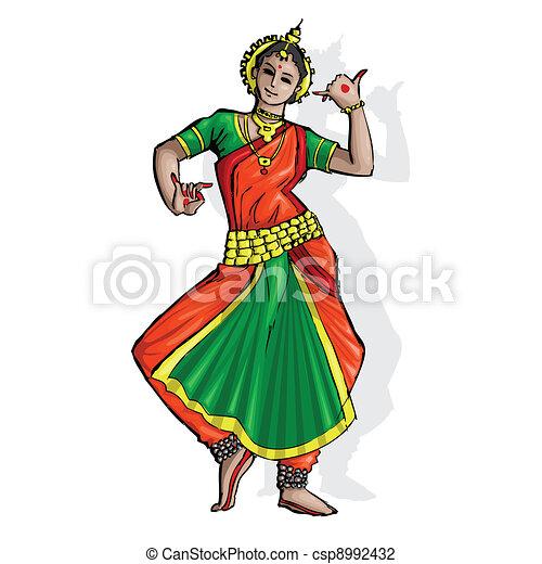 Vector Illustration of Indian Classical Dancer ...