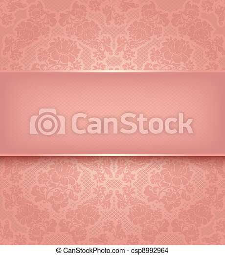 Lace template, ornamental pink flowers background - csp8992964