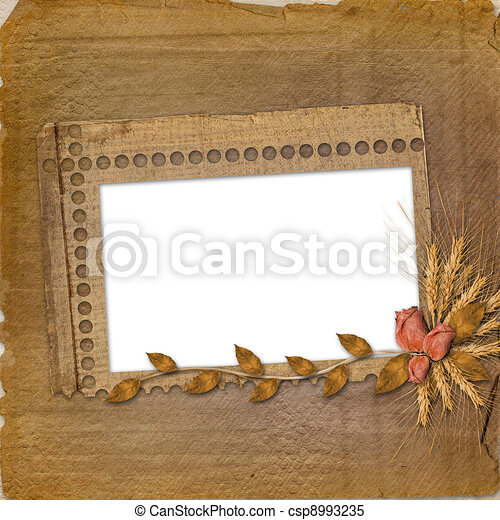 Grunge frame in scrapbooking style with bunch of rose - csp8993235