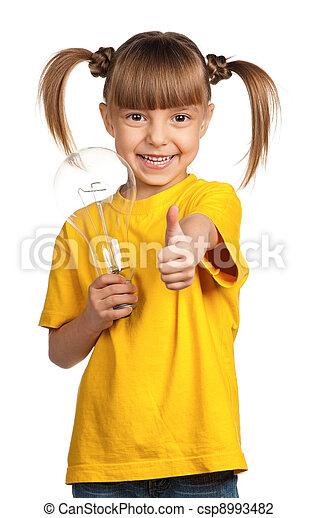 Girl with light bulb
